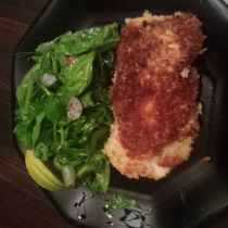 Panko Crusted Chicken with Pea tips and Sugar Snap Beans with Pink Lemon Vinagrette